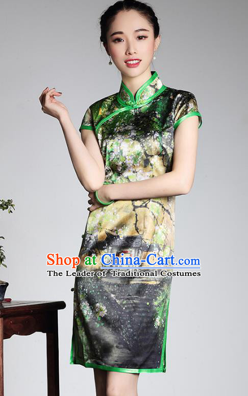 Top Grade Asian Republic of China Plated Buttons Cheongsam, Traditional Chinese Tang Suit Printing Green Silk Qipao Dress for Women