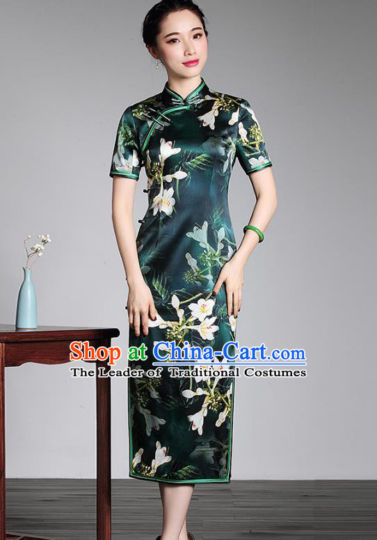 Top Grade Asian Republic of China Plated Buttons Cheongsam, Traditional Chinese Tang Suit Printing Green Silk Long Qipao Dress for Women
