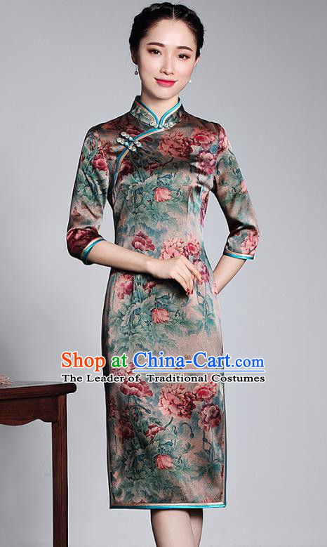 Top Grade Asian Republic of China Plated Buttons Cheongsam, Traditional Chinese Tang Suit Printing Silk Qipao Dress for Women
