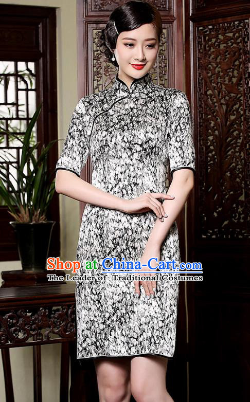 Traditional Ancient Chinese Young Lady Retro Stand Collar Short Cheongsam Printing Silk Dress, Asian Republic of China Qipao Tang Suit Clothing for Women