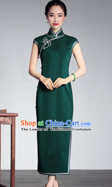 Traditional Ancient Chinese Young Lady Retro Stand Collar Long Cheongsam Green Silk Dress, Asian Republic of China Qipao Tang Suit Clothing for Women