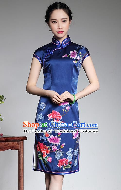 Asian Republic of China Young Lady Retro Stand Collar Blue Silk Cheongsam, Traditional Chinese Printing Peony Qipao Tang Suit Dress for Women