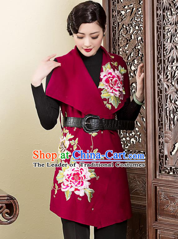 Asian Republic of China Young Lady Retro Stand Collar Embroidered Cheongsam Coats, Traditional Chinese Qipao Jacket Tang Suit Upper Outer Garment for Women