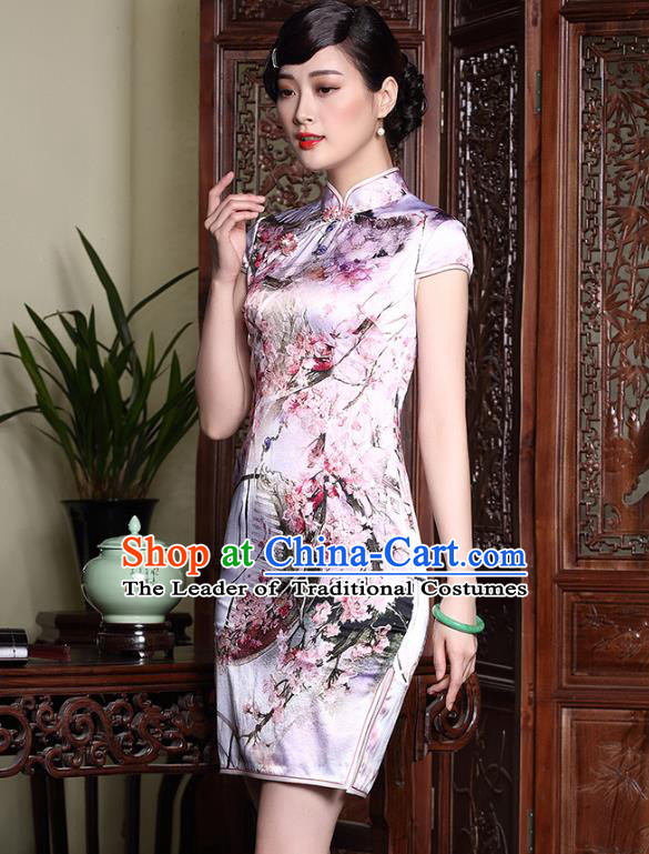 Asian Republic of China Young Lady Retro Stand Collar Silk Short Cheongsam, Traditional Chinese Printing Qipao Tang Suit Dress for Women