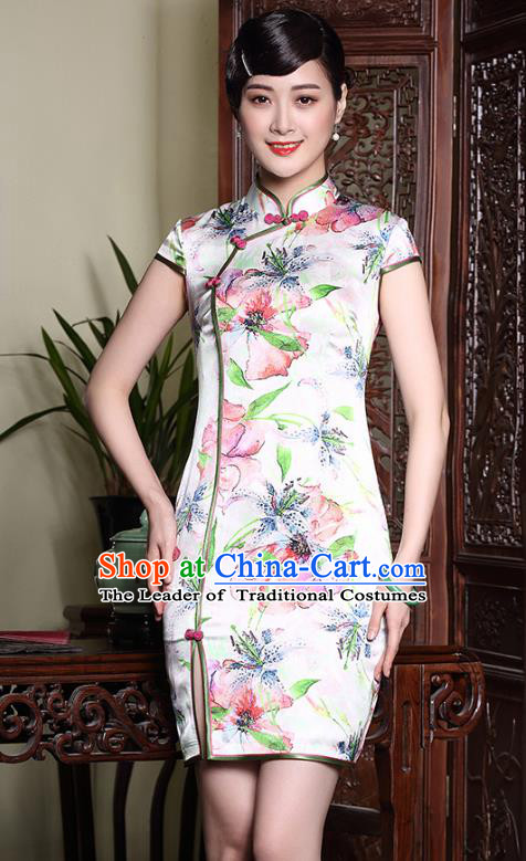 Asian Republic of China Young Lady Retro Plated Buttons Printing Flowers Cheongsam, Traditional Chinese Silk Qipao Tang Suit Dress for Women