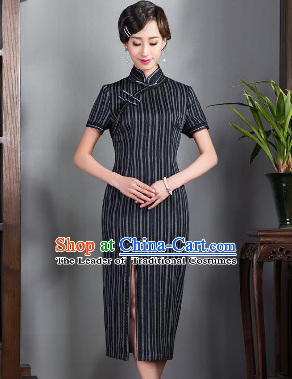 Asian Republic of China Young Lady Retro Plated Buttons Black Woolen Cheongsam, Traditional Chinese Wedding Qipao Tang Suit Dress for Women