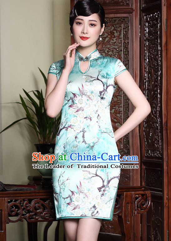 Asian Republic of China Young Lady Retro Plated Buttons Green Printing Silk Cheongsam, Traditional Chinese Wedding Qipao Tang Suit Dress for Women