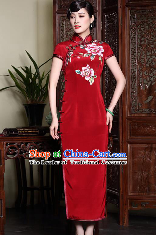 Asian Republic of China Top Grade Satin Plated Buttons Printing Peony Red Cheongsam, Traditional Chinese Tang Suit Qipao Dress for Women