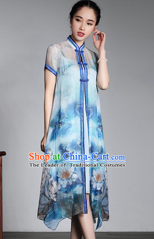 Asian Republic of China Top Grade Plated Buttons Printing Blue Cheongsam Dust Coat, Traditional Chinese Tang Suit Qipao Coats for Women
