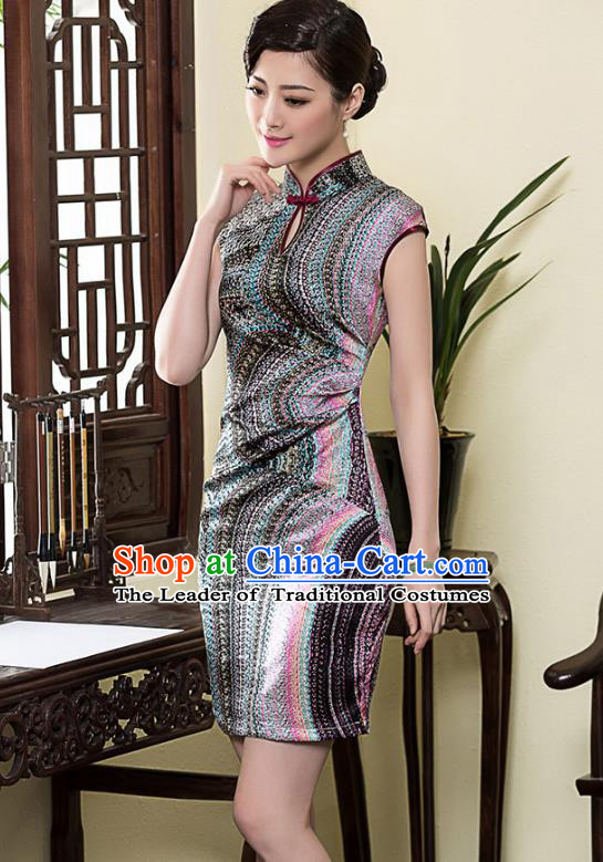 Asian Republic of China Top Grade Plated Buttons Painting Silk Cheongsam, Traditional Chinese Tang Suit Qipao Dress for Women