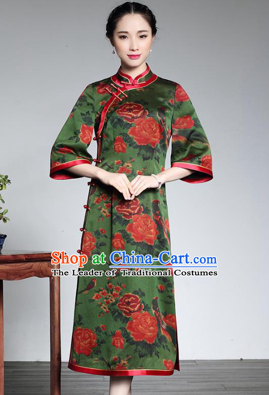 Asian Republic of China Young Lady Retro Plated Buttons Printing Green Silk Cheongsam, Traditional Chinese Wedding Qipao Tang Suit Dress for Women
