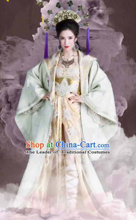 Asian China Tang Dynasty Palace Lady Costume, Traditional Chinese Ancient Imperial Concubine Embroidered Hanfu Clothing and Headpiece Complete Set