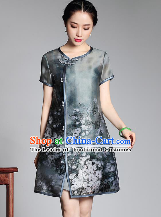 Asian Republic of China Top Grade Plated Buttons Organza Printing Cheongsam, Traditional Chinese Tang Suit Qipao Dress for Women