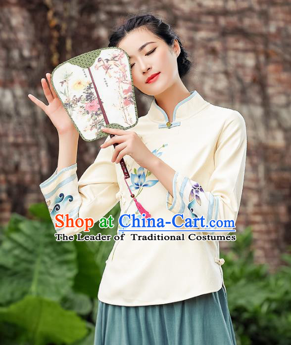 Asian China Embroidered Linen Cheongsam Blouse, Traditional Chinese Tang Suit Hanfu Shirts for Women