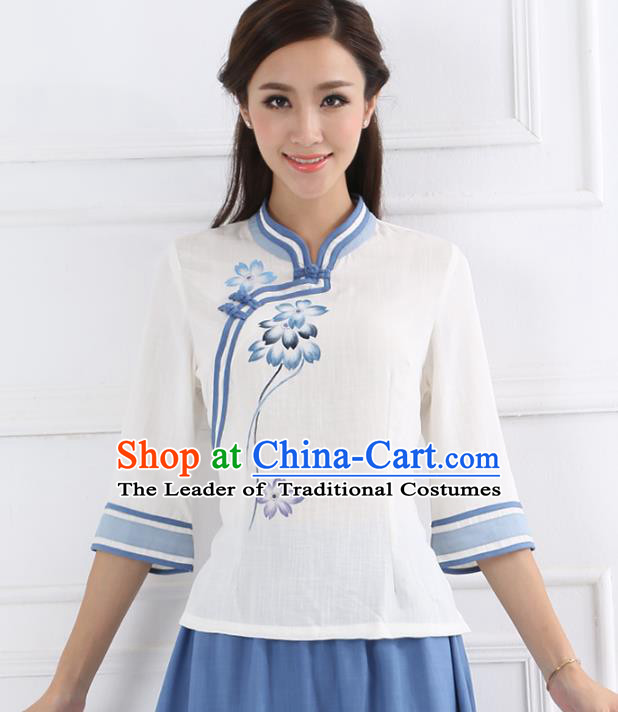 Asian China Top Grade Linen Cheongsam Blouse, Traditional Chinese Tang Suit Hanfu Shirts for Women