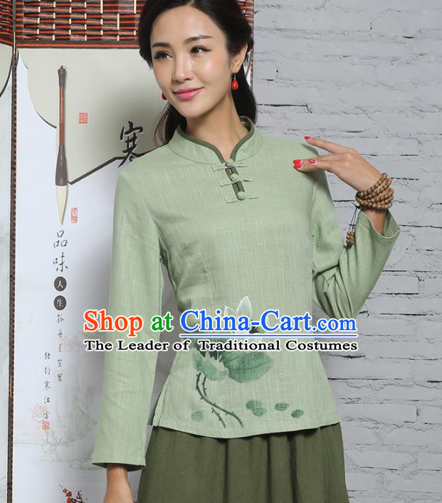 Asian China Top Grade Green Linen Hand Painting Cheongsam Blouse, Traditional Chinese Tang Suit Hanfu Plated Buttons Shirts for Women