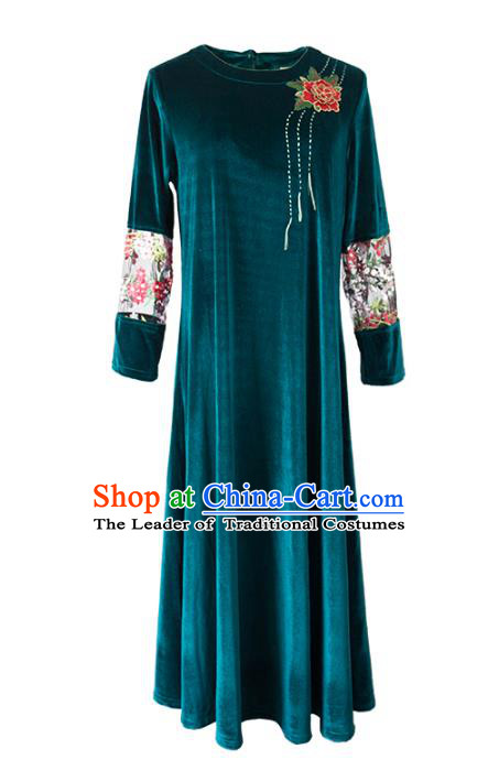 Asian China Top Grade Green Velvet Cheongsam Dress, Traditional Chinese Tang Suit Hanfu Plated Button Embroidered Qipao for Women