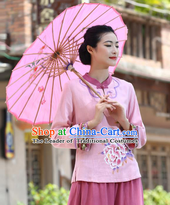 Asian China Top Grade Pink Linen Hand Painting Peony Cheongsam Blouse, Traditional Chinese Tang Suit Hanfu Plated Button Qipao Shirts for Women