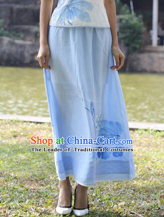 Asian China Hand Painting Blue Linen Bust Skirt, Traditional Chinese Tang Suit Hanfu Skirts for Women