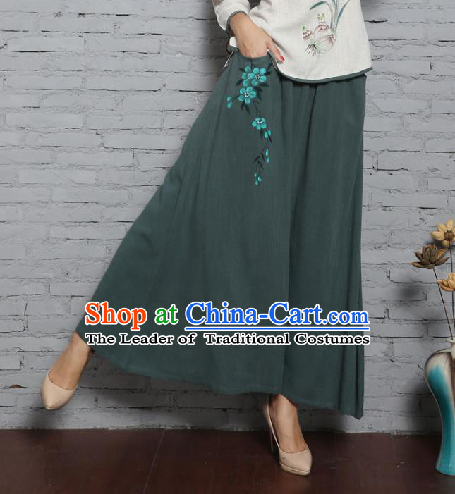 Asian China Hand Painting Green Linen Bust Skirt, Traditional Chinese Tang Suit Hanfu Skirts for Women