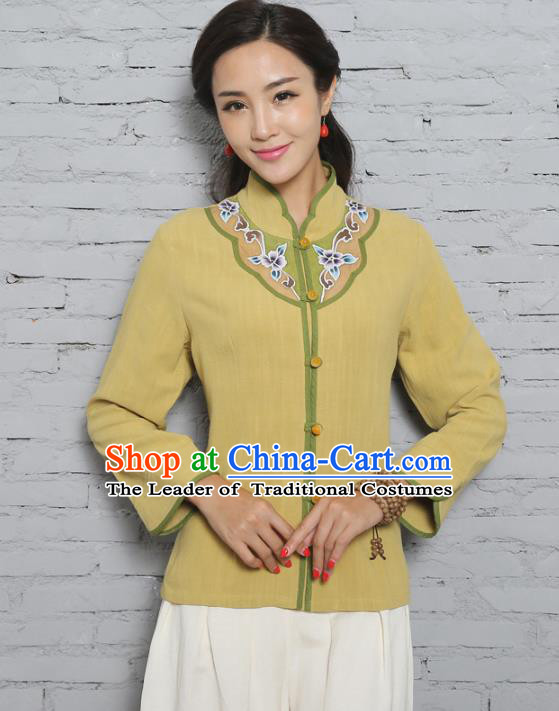 Asian China Top Grade Yellow Linen Cheongsam Hand Painting Blouse, Traditional Chinese Tang Suit Hanfu Plated Button Qipao Shirts for Women