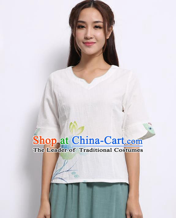 Asian China Top Grade Linen Printing Lotus Cheongsam Blouse, Traditional Chinese Tang Suit Hanfu Plated Button Qipao Shirts for Women