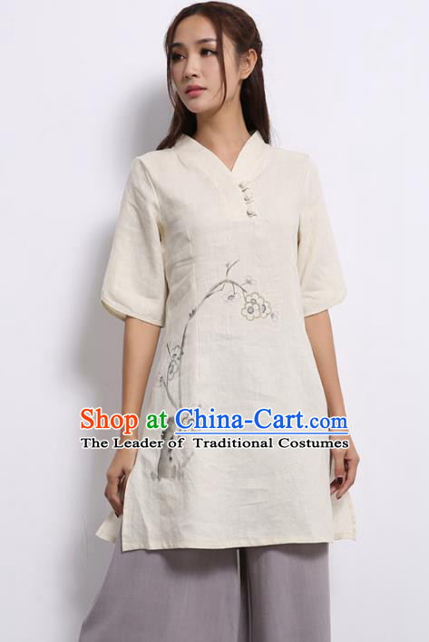 Asian China Top Grade White Linen Printing Cheongsam Blouse, Traditional Chinese Tang Suit Hanfu Plated Button Qipao Shirts for Women