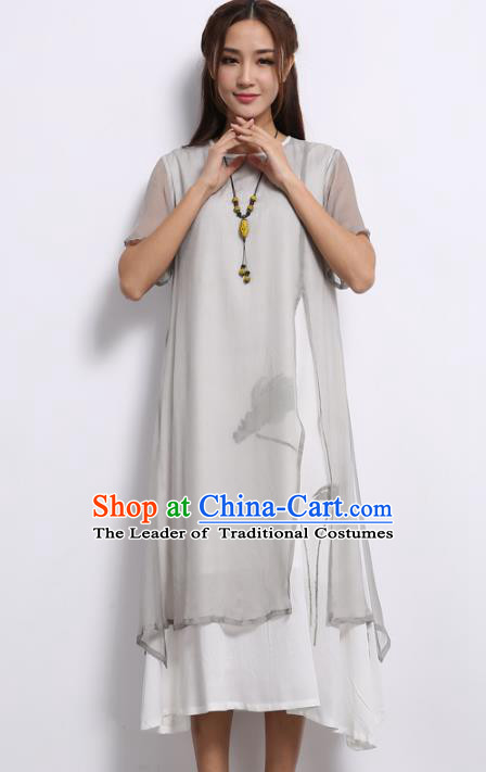 Asian China Top Grade Grey Silk Hand Painting Cheongsam, Traditional Chinese Tang Suit Hanfu Plated Button Qipao Dress for Women