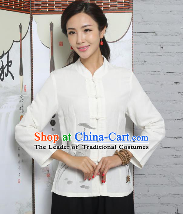 Asian China Top Grade White Linen Cheongsam Blouse, Traditional Chinese Tang Suit Hanfu Plated Button Qipao Shirts for Women