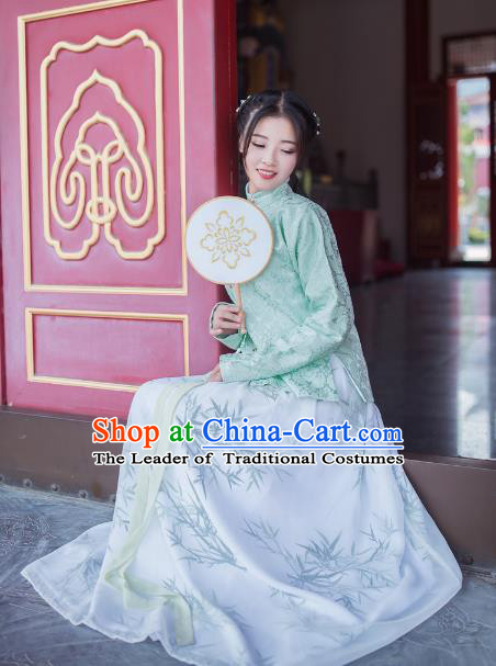 Asian China Ming Dynasty Young Lady Costume Green Blouse, Traditional Chinese Ancient Princess Embroidered Hanfu Clothing for Women