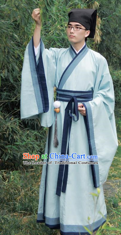 Asian China Han Dynasty Scholar Costume Blue Long Robe, Traditional Chinese Ancient Chancellor Hanfu Clothing for Men