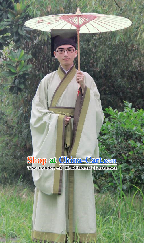 Asian China Han Dynasty Scholar Costume Green Long Robe, Traditional Chinese Ancient Chancellor Hanfu Clothing for Men
