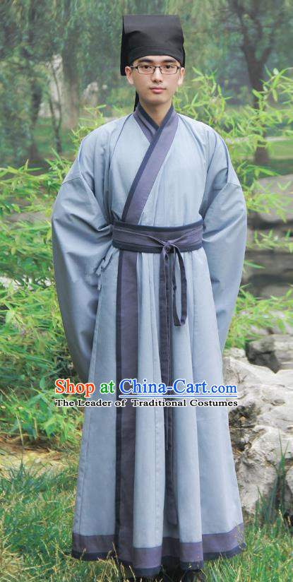 Asian China Han Dynasty Scholar Costume Deep Blue Long Robe, Traditional Chinese Ancient Chancellor Hanfu Clothing for Men