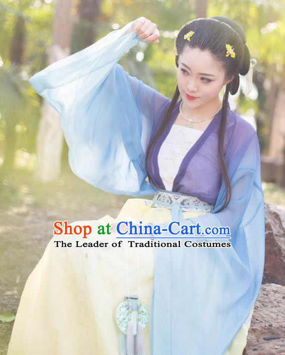 Asian China Tang Dynasty Palace Lady Costume Embroidery Slip Dress, Traditional Chinese Ancient Imperial Concubine Hanfu Clothing for Women