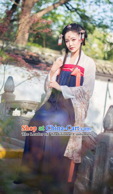 Asian China Tang Dynasty Princess Costume Complete Set, Traditional Chinese Ancient Palace Lady Hanfu Clothing for Women