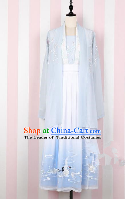 Asian China Song Dynasty Princess Embroidered Costume Complete Set, Traditional Ancient Chinese Palace Lady Embroidery Blue Skirt for Women