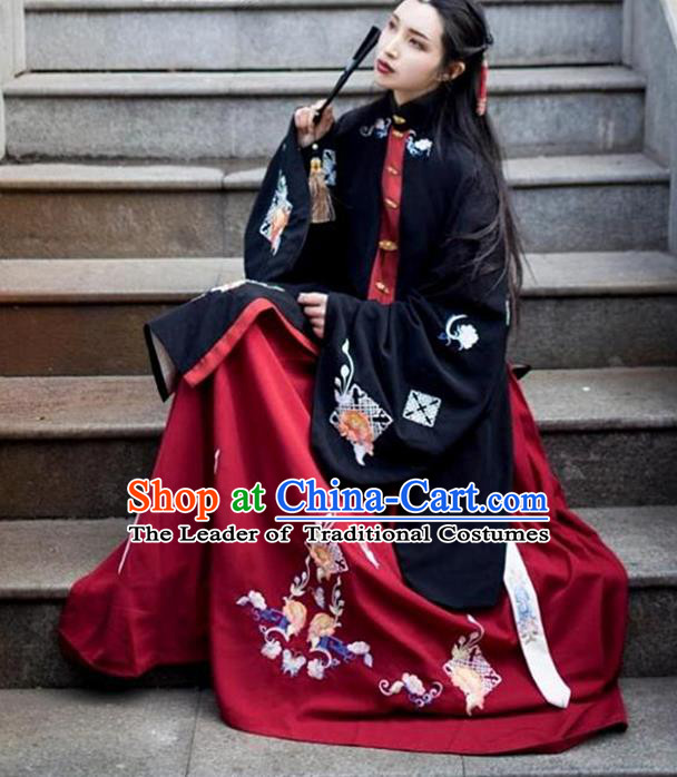 Asian China Ming Dynasty Princess Costume Embroidered Black Blouse and Red Skirt, Traditional Ancient Chinese Palace Lady Embroidery Clothing for Women