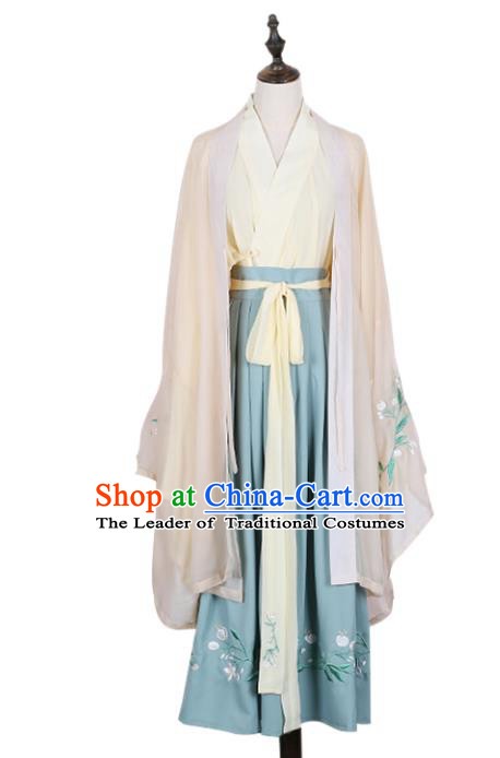 Asian China Jin Dynasty Princess Costume Embroidered Cardigan Complete Set, Traditional Ancient Chinese Palace Lady Embroidery Clothing for Women