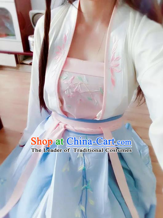 Asian China Tang Dynasty Palace Lady Embroidered Costume, Traditional Ancient Chinese Princess Embroidery Clothing for Women