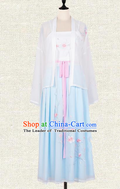 Asian China Tang Dynasty Palace Lady Embroidered Peach Blossom Costume, Traditional Ancient Chinese Elegant Hanfu Imperial Princess Clothing for Women