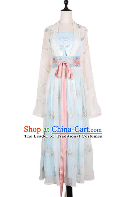 Asian China Song Dynasty Young Lady Princess Costume Embroidered Clothing Complete Set, Traditional Ancient Chinese Elegant Hanfu for Women