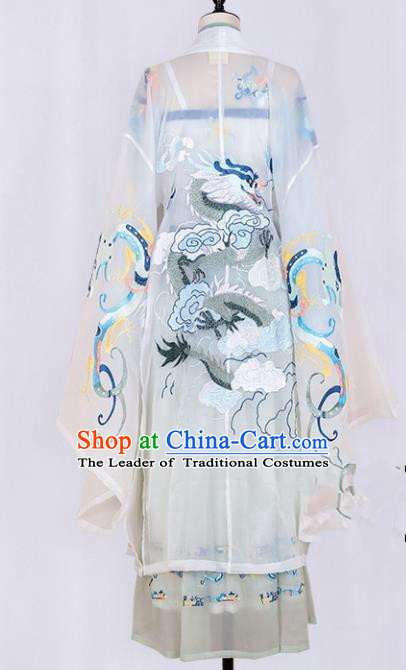 Asian China Tang Dynasty Palace Lady Embroidered Dragons Clothing, Traditional Ancient Chinese Imperial Princess Hanfu Clothing for Women