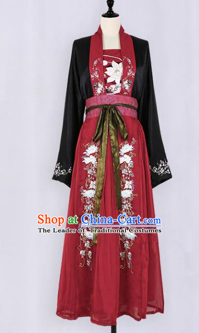 Asian China Tang Dynasty Palace Lady Embroidered Clothing, Traditional Ancient Chinese Imperial Princess Hanfu Slip Dress Clothing for Women