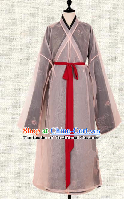 Asian China Jin Dynasty Palace Lady Embroidered Dragons Clothing, Traditional Ancient Chinese Imperial Princess Hanfu Clothing for Women
