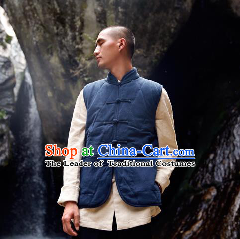 Asian China National Costume Navy Cotton-padded Vest, Traditional Chinese Tang Suit Plated Buttons Waistcoat Clothing for Men