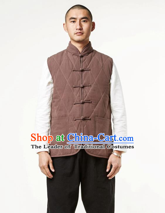 c84238e7ee Asian China National Costume Brown Cotton-padded Vest