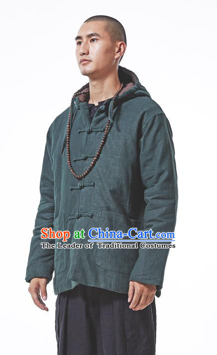Asian China National Costume Green Cotton-padded Jacket, Traditional Chinese Tang Suit Plated Buttons Coat Clothing for Men