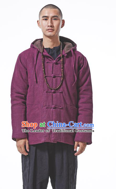 Asian China National Costume Red Cotton-padded Jacket, Traditional Chinese Tang Suit Plated Buttons Coat Clothing for Men