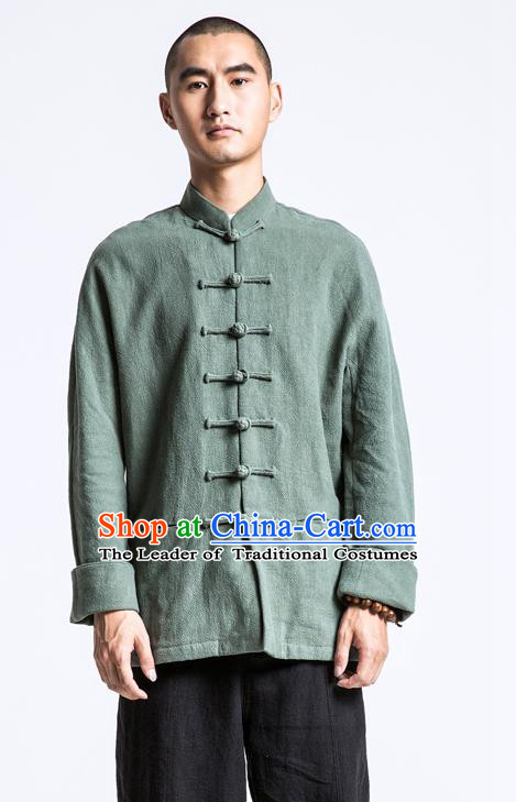 Asian China National Costume Green Linen Shirts, Traditional Chinese Tang Suit Plated Buttons Upper Outer Garment Clothing for Men