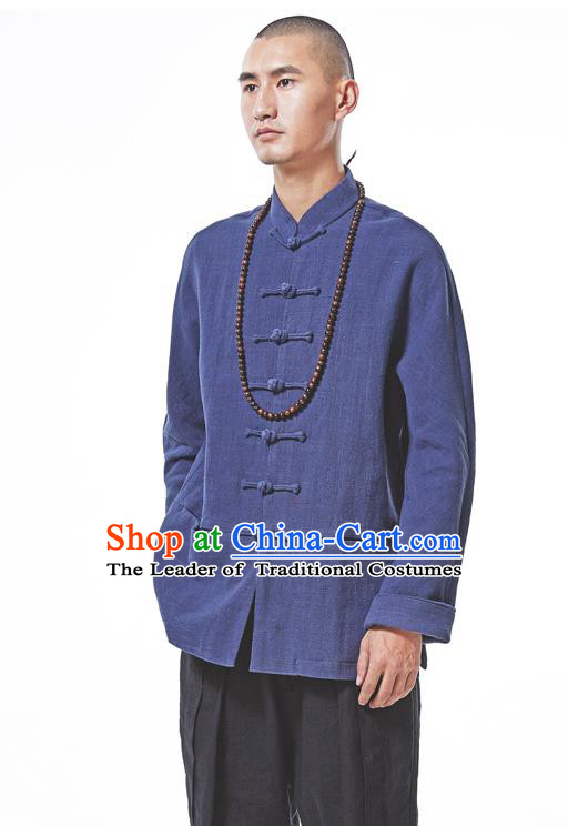 Asian China National Costume Deep Blue Linen Shirts, Traditional Chinese Tang Suit Plated Buttons Upper Outer Garment Clothing for Men